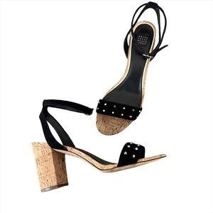 WHBM Rexx Black Gold Studded Sandal cork Heel 9.5